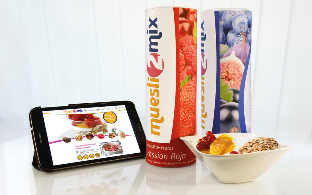 Konzept, Design und Umsetzung von Müsli Rollen, Werbefotografie sowie Screenlayouts für E-Commerce Shop.